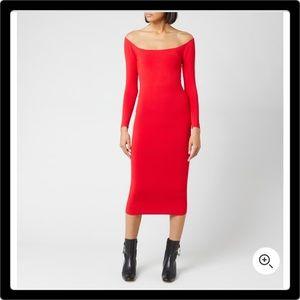 ALEXANDER WANG Long Sleeve Body-Con Dress Red SM/P